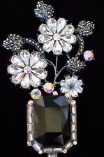CLEAR BLACK  MOTHERS DAY EASTER VINE FLOWER BASKET VASE PIN BROOCH JEWELRY 3.25""