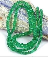 High Grade Fine quality real Colombian Emerald 2-4mm BIG Rondelle Faceted Strand