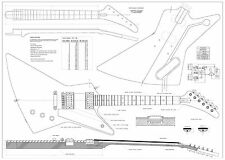 Gibson Explorer Electric Guitar Plans -  full scale - detailed technical plans