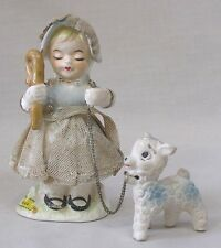 Vintage Mary Had a Little Lamb Figurine Mary w Lamb on Chain Japan