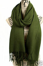 New Women's Men's Pashmina Cashmere Silk Solid Green Shawl Wrap Long Scarf