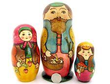 Dalla russia GRANDE nidificazione bambola 3 DIPINTO A MANO Dad & Funghi Mama