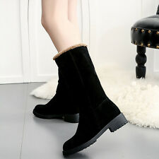 Fashion Women Scrub Plush Winter Snow Boots Flat Casual Ankle Mid-Calf Boots Lot