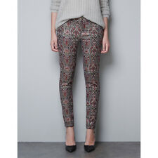 New Authentic Zara Metallic Thread Jacquard Pattern Pants Trousers 4 Small