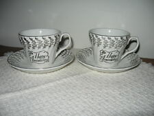 Pair H. Aynsley & Co Staffordshire Happy Anniversary Cups & Saucers Silver Decor