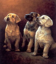 Nigel Hemming GUIDING LIGHTS - Labrador, Retriever & German Shepherd Puppies Art