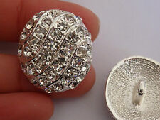 2 large crystal buttons rhinestone diamante wedding upholstery silver round UK 2