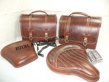 NEW PURE LEATHER ROYAL ENFIELD CLASSIC SADDLE BAG SET FRONT & REAR SEAT ANTIQUE