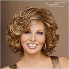 Women's Sexy ladies Curly short Brown mix Natural Hair full wigs + Wig cap