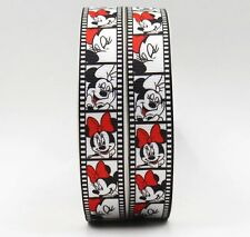 "BTY 7/8"" Disney Minnie On Film Grosgrain Ribbon Hair Bows Scrapbooking Lisa"