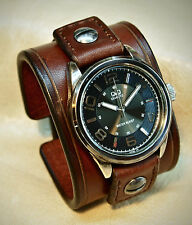 Leather Cuff Watch Brown scribed watchband bracelet Matara Custom Made in NYC US