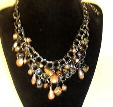 "Chico's necklace 14"" gunmetal chain w/ black & copper tone beads signed NEW"