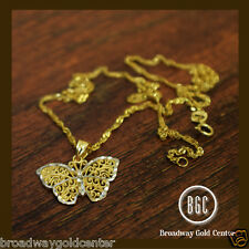 Butterfly Pendant & Chain Necklace 14k Solid 2 tone Gold NOW ON SALE!