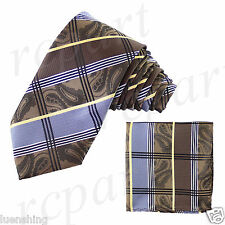 New Men's Brand Q Microfiber Necktie Hankie Set Paisley Striped Brown Blue