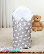 Polka Dots Grey Swaddle Wrap 80x80 cm Soft Baby Infant Blanket 100% Cotton