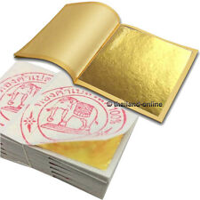 "100 GENUINE REAL PURE 24K GOLD LEAF LEAVES GILDING 100 SHEET 1.3"" x 1.3"" EDIBLE"