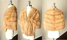 Mink Fur Honey Blonde Autumn Wrap Cape Shawl Pelz Mantel Fuchs VTG Coat Sz Xs-L