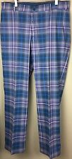 NIKE TOUR PERFORMANCE GOLF DRI-FIT TARTAN GRAY BLUE  PLAID FLAT PANTS SIZE 34X32