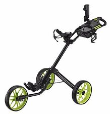 CaddyTek Deluxe Quad-Fold Golf Push Cart - CaddyLite 15.3 - LIME