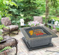 36″ Outdoor Metal Fire pit Square Stove w/ Cover BBQ Fireplace Patio Yard Brazie