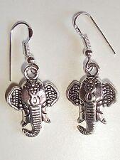 1 Paire Boucles d'Oreilles Pendante Tête d'Eléphant neuve