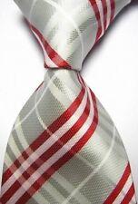 Nuevo Gris Plata Rojo a Rayas Escocés Tartán Estilo Corbata Seda para hombre regalo de vendedor Reino Unido