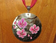 Russian hand painted Black Lip Shell PENDANT Japanese PINK SAKURA tree FLOWERS