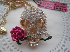 Betsey Johnson $6.99 Skull rose necklace & Free Gift Fast shipping USA