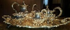 Reed & Barton Silver Victorian 5 Piece Tea Set Serving Tray