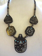 Hand Carved NATIVE AMERICAN Black Buffalo Horn SCRIMSHAW NECKLACE Navajo Pearls