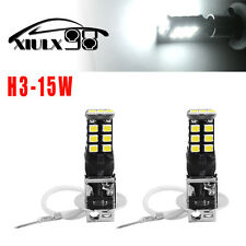 2X High Power H3 6000K Xenon White 15W LED 800LM Fog Driving DRL Light Bulb Lamp