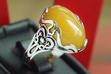 Men Ring 925 STERLING SILVER real yellow yemeni aqeeq agate floral ring islamic