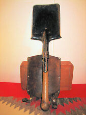 WW II ERA SWISS MADE ENTRENCHMENT SHOVEL TRENCH TOOL W LEATHER COVER RG & CIE 39