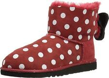 "UGG KIDS $185 DISNEY ""SWEETIE BOW"" SHEEPSKIN BOOTS RED DOTS SIZE 9M(26)"
