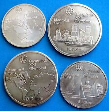 Montreal Olympic 1976 Sterling Silver Coins Issued 1973, Set of 4 Uncirculated