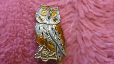 VINTAGE HROAR PRYDZ UNSiGNED STERLING SILVER OWL PIN BROOCH NORWAY ENAMELED