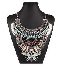 Gypsy Tribal Style Chunky Multilayer Coin Statement Necklace Bohemian Bib