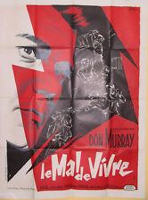 Affiche LE MAL DE VIVRE. 120 x 160 cms.  Don Murray. Dessin Grinsson