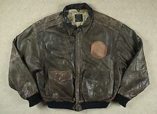 VTG 80s US WEAR FM-2 PATCHED LEATHER FLIGHT BOMBER JACKET A2 FLYERS STYLE XL