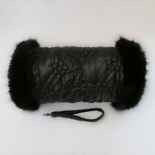 Fur Trimmed Black Quilted Flower Design Hand Warmer Muff with Luxury Faux Fur