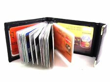 NEW MENS SOFT BLACK GENUINE LEATHER CREDIT CARD HOLDER WALLET HOLDS 20 CARDS