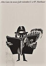 Wolfgang Mattheuer - Neujahrskarte 1969 - Holzstich