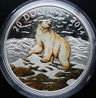 *RARE* CANADA $20 .999 Fine Silver 1 oz. Coin - Coloured Polar Bear 2014 SOLDOUT