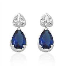 Blue Sapphire Cz Drop Dangle  .925 Sterling Silver Earrings