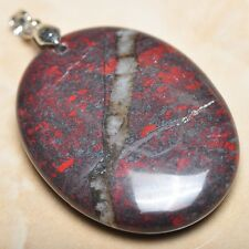 "Extremely Red Natural Bloodstone 925 Sterling Silver Clasp 2"" Pendant #P09247"