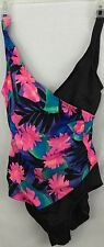 Jantzen Womens Purple Pink Green Floral One Piece V-Neck Ruched Swimsuit 12
