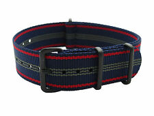 HNS Zulu 20mm MoD G10 Blue Red Strip Heavy Diver Nylon Army Zulu Watch PVD Strap