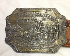 Vintage Brass Belt Buckle Americas Heroes New York Fire Department Lewis Chicago