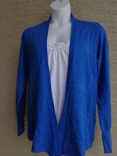 Melrose Chic Women Fine Gauge Knit L/S Open Flyaway Cardigan Sweater 2X Sappire