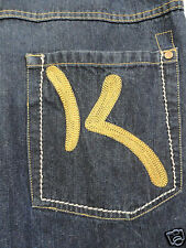 KANI GOLD JEANS MENS 34/32 (35 X 29.5) DARK WASH GOLD K STITCHED HIP HOP BAGGY